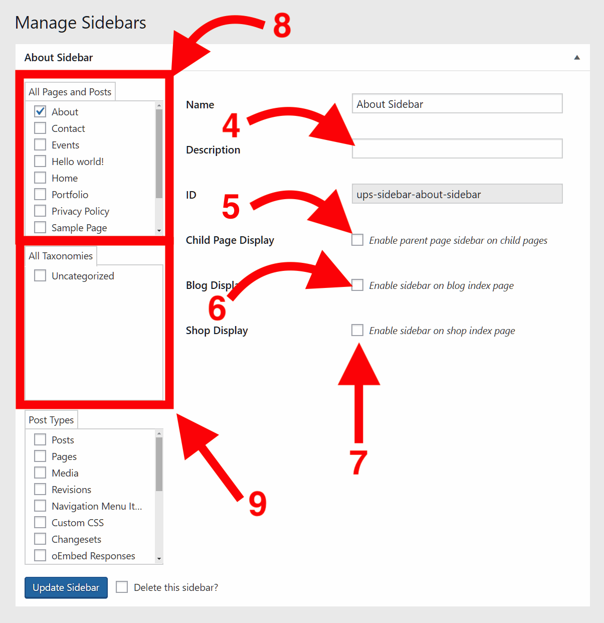 Manage Sidebars