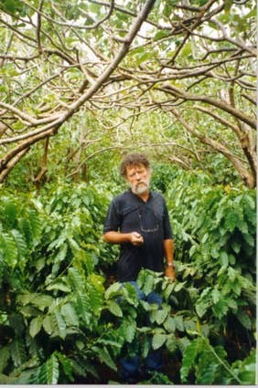 Nikolaus Foidl with coffee under Jatropha
