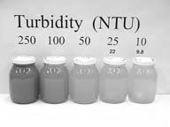 Figure 1: Examples of a range of turbidities, in units of NTU. Figure from North Carolina State University Water Quality Group, http://www.water.ncsu. edu/watershedss/info/t urbid.html