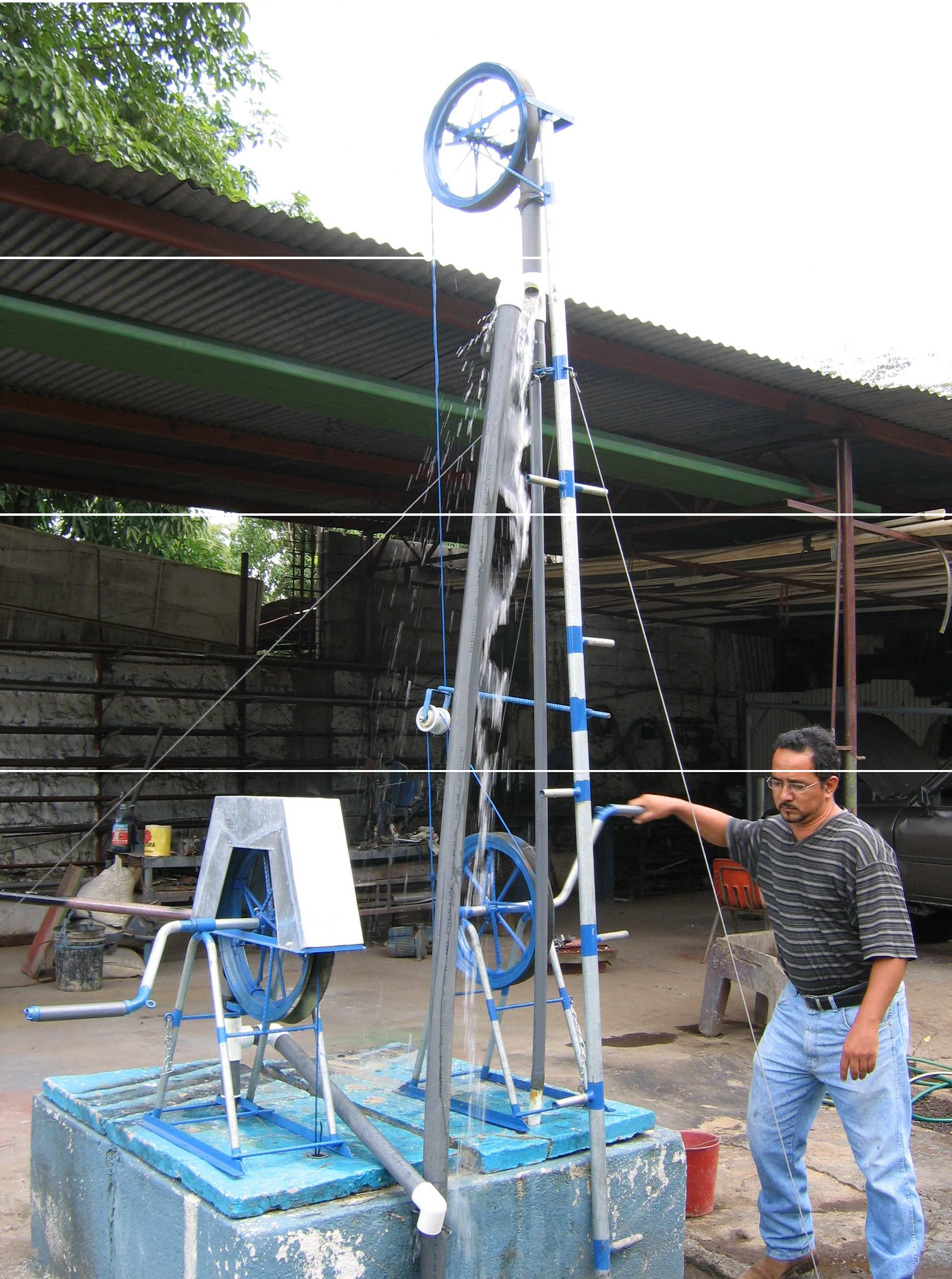 Figure 1: Two models of rope pumps being demonstrated at Aerobombas de Mecate, Managua, Nicaragua. The pump on the right, similar to one ECHO recently purchased, is used for lifting water several meters above ground level for gravity feed systems. Photo by Danny Blank