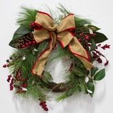 Wreath  greenery  berries  burlap bow
