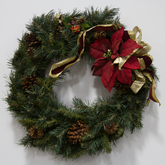 Wreath  greenery  pinecones  gold ribbon  red poinsettias