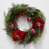 Wreath  greenery  stewart red balls  frosted red poinsettias