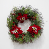 Wreath  greenery  frosted poinsettias  red berries