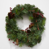 Wreath  greenery  red berries  pinecones