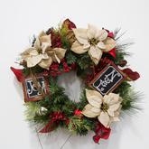 Wreath  greenery  noel  joy  burlap poinsettias
