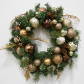 Wreath  greenery  gold and brown ornaments