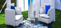 White furniture and glass table