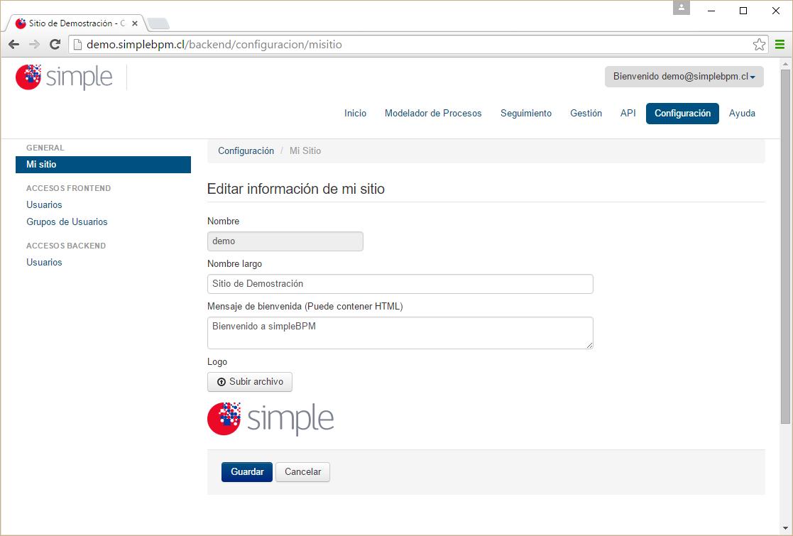Espacio de trabajo sección de Configuración de simpleBPM