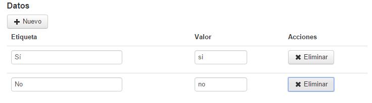 Boton Select listado