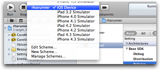 xcode scheme device