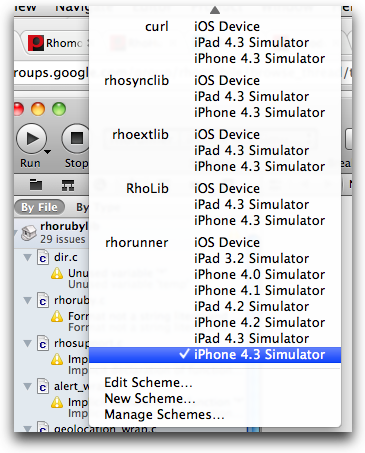 xcode scheme simulator