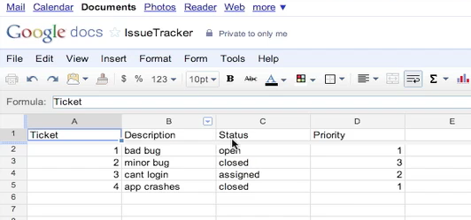 Issue Tracker on Google Docs