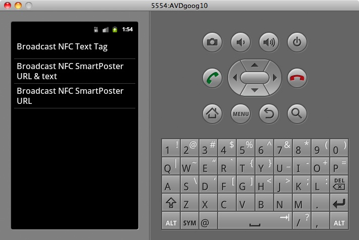 NFC Demo tag types to send