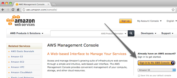 AWS login button