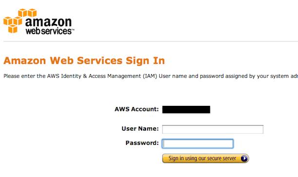 AWS login page