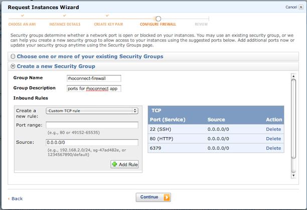request instances - configure firewall