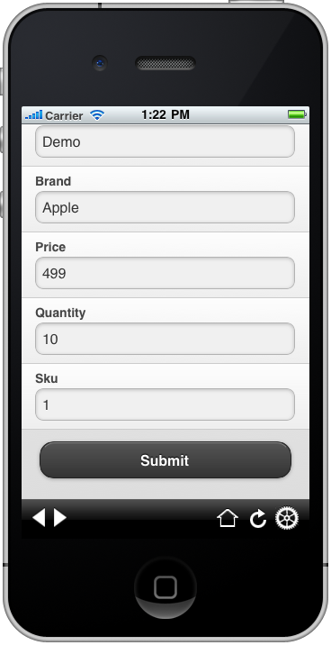 jquerymobile iPhone product new filled in