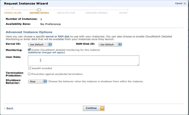Request Images Wizard Instance Details 2