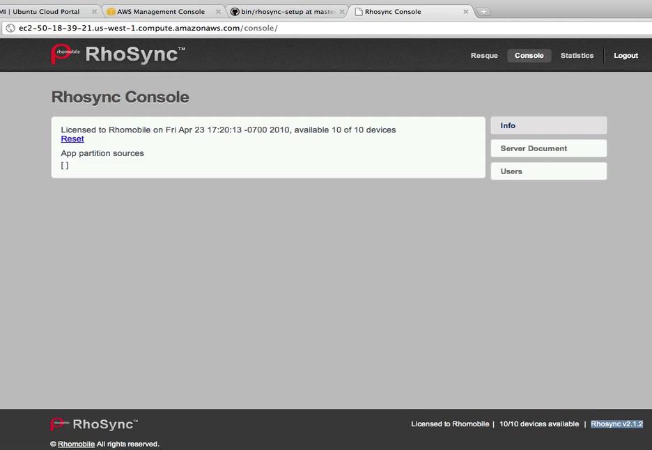 RhoSync Console
