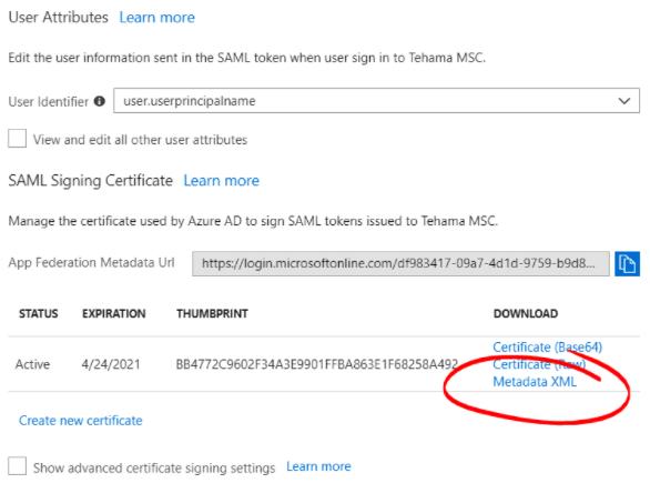 Azure SAML Single Sign On Federation Metadata XML Button