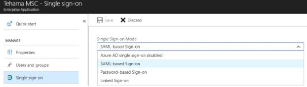 Azure Single Sign On Menu