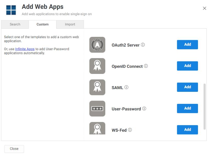 Centrify Add Web Apps Custom Tab
