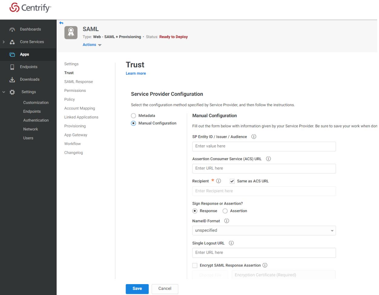 Centrify Admin Portal Apps Trust Page Service Provider Configuration Section