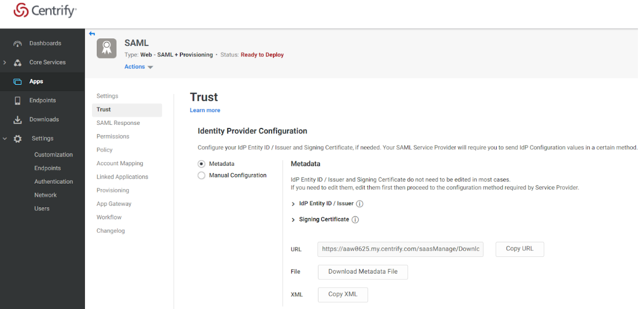 Centrify Admin Portal Apps Trust Page