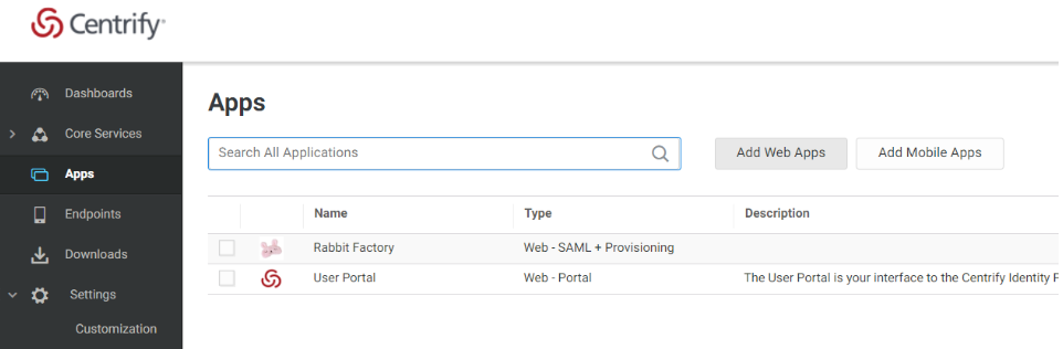 Centrify Admin Portal Top Level Menu with Apps Highlighted