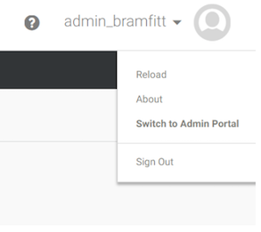 Centrify User Menu with Switch to Admin Portal Highlighted