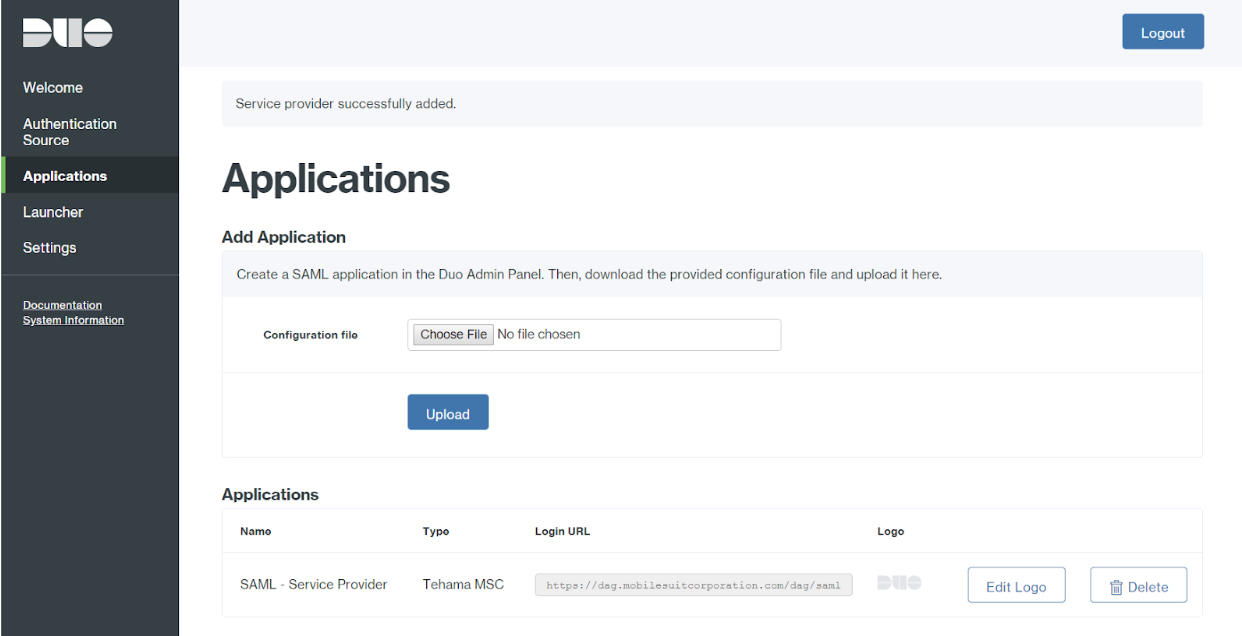 Duo Access Gateway Applications with Config File Uploaded Page