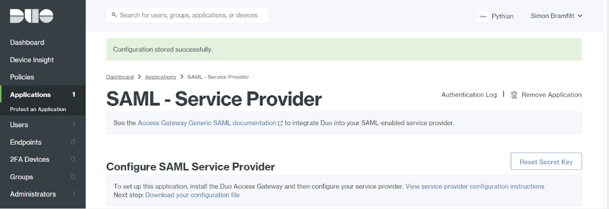 Duo Applications Protect SAML Service Provider Saved Page