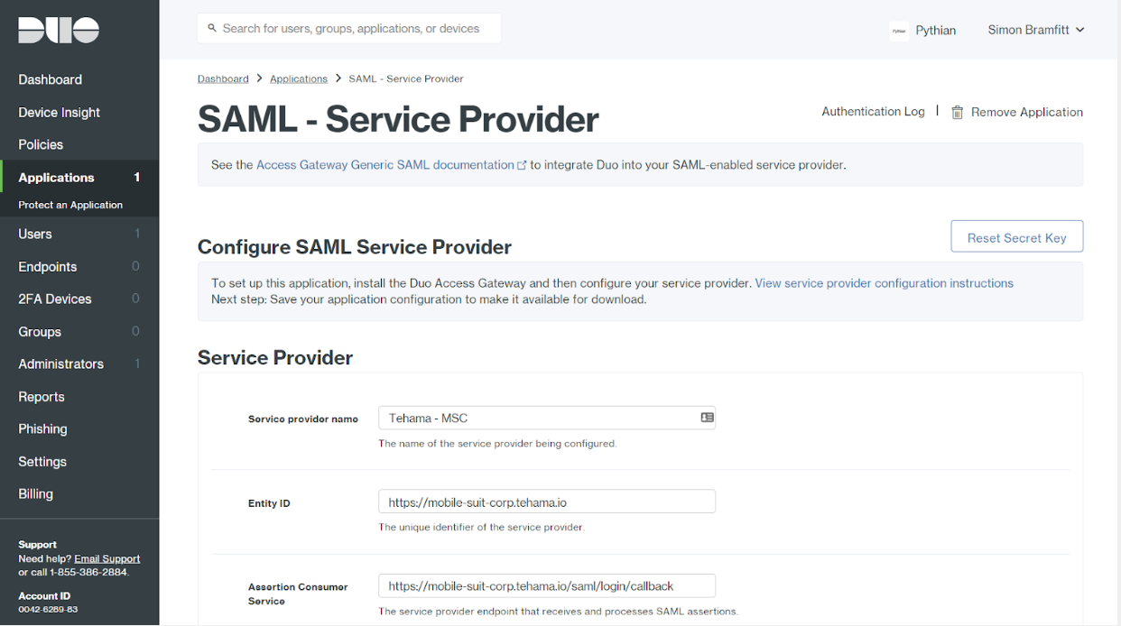 Duo Applications Protect SAML Service Provider Page
