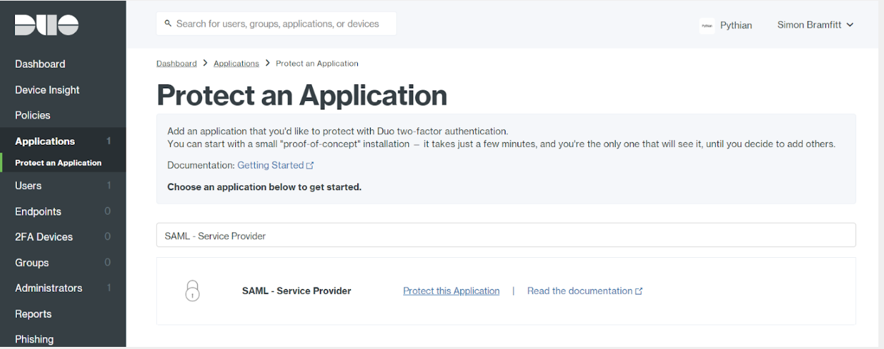 Duo Applications Protect an Application Page