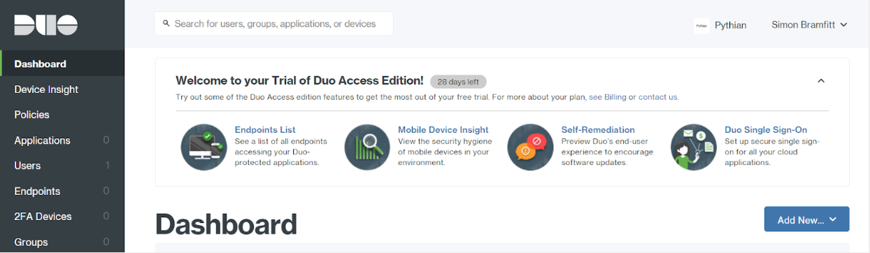 Duo Dashboard Page