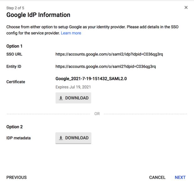 Google Create New SAML App Page