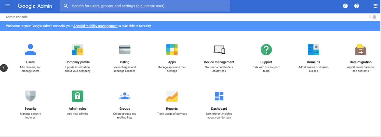 Google Admin Console Top Level Page