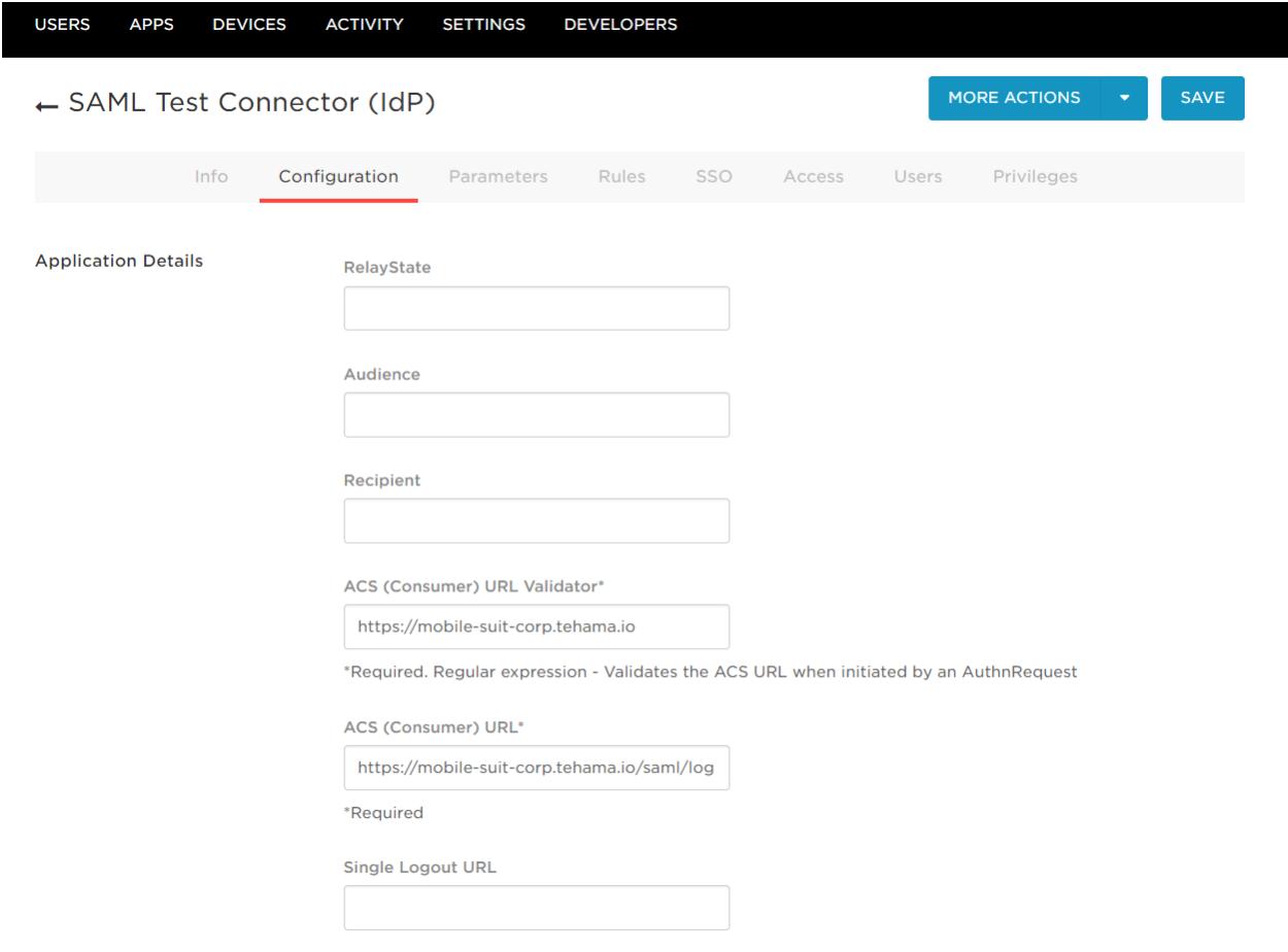 OneLogin SAML Test Connector (IdP) Configuration Tab