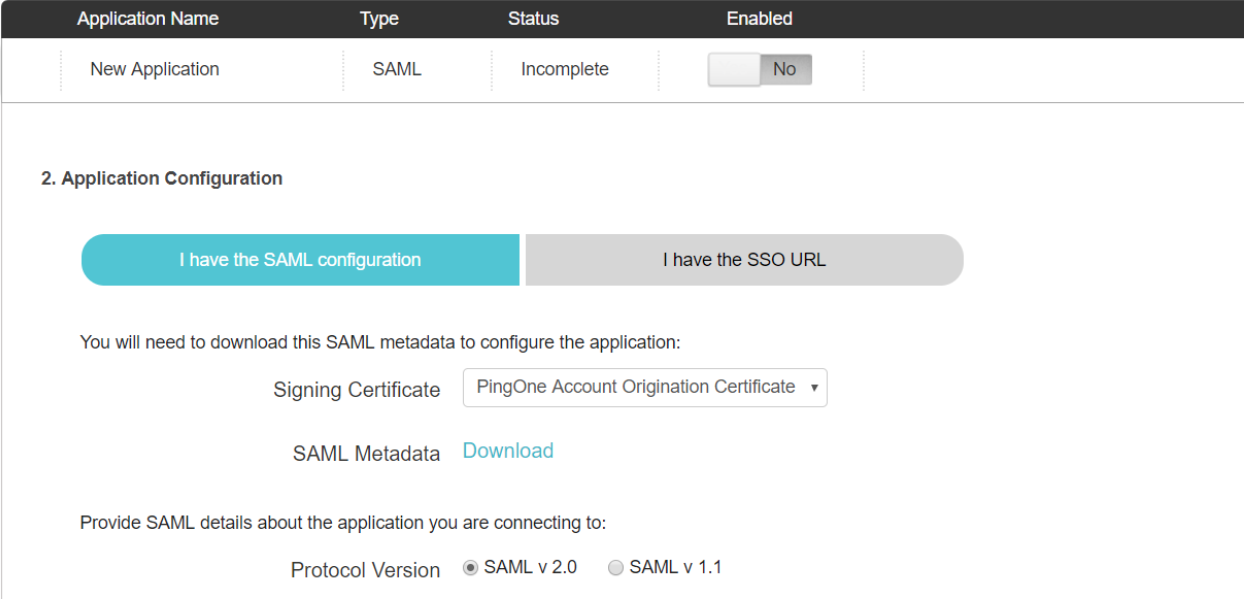 PingOne New SAML Application Page Scrolled Down to Step 2