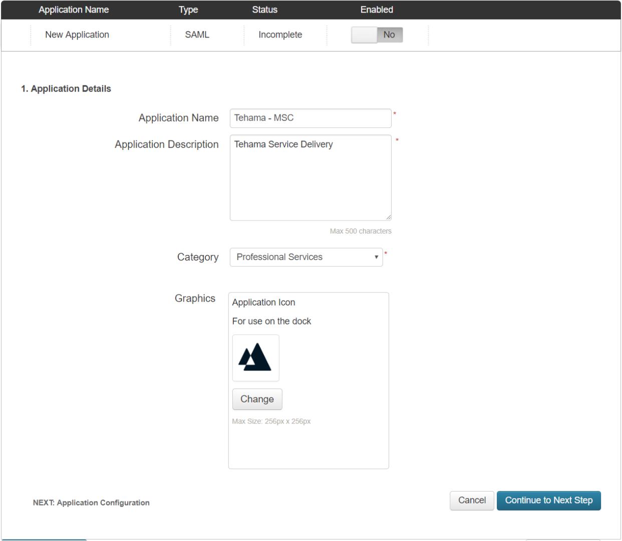PingOne New SAML Application Page