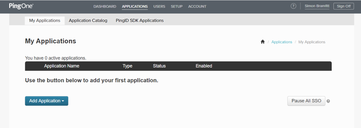 PingOne My Applications Page
