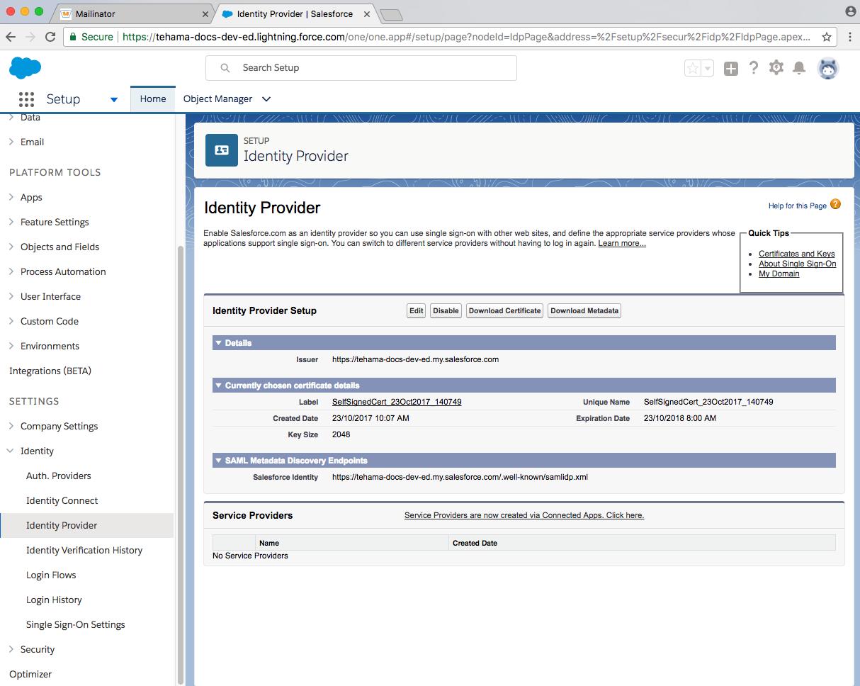 developer salesforce domain configured identity_provider