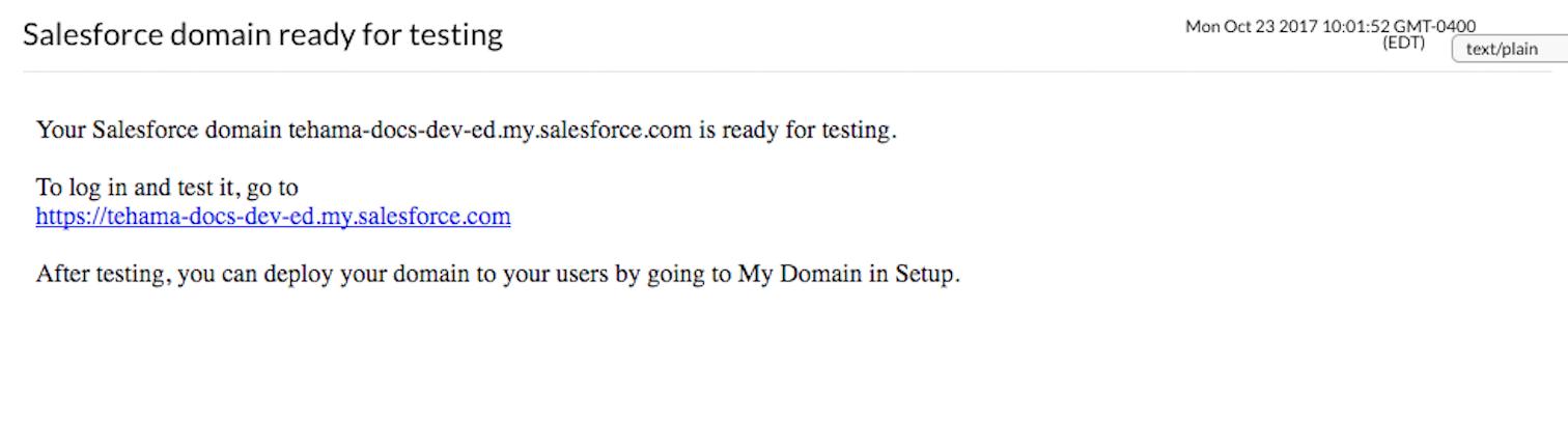 developer salesforce domain email