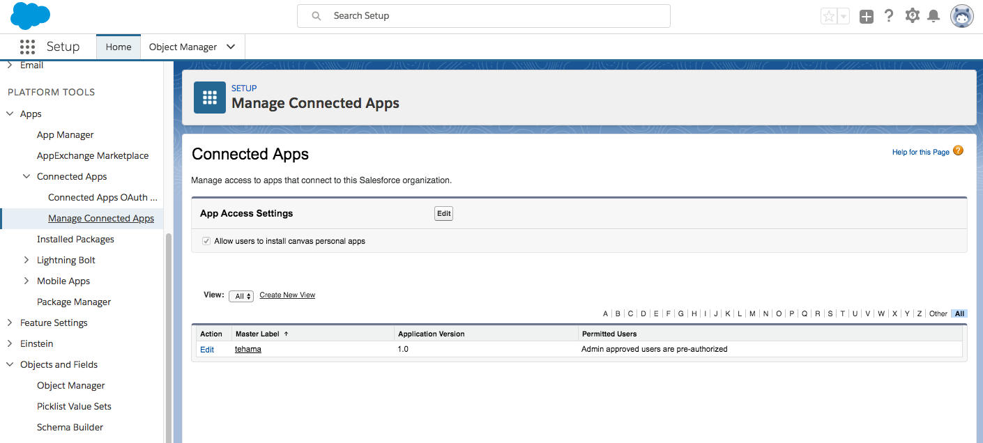 Manage Connected Apps Page