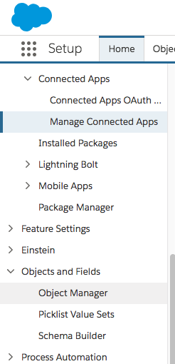 Object Manager in Sidebar Menu