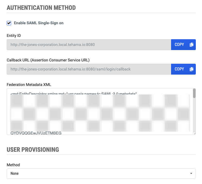 Tehama Organization Authentication Page with SAML-enabled and XML metadata added to page