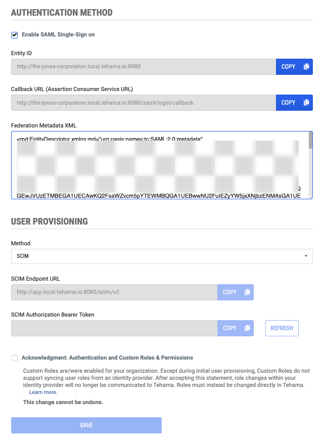 authentication page with enable-saml-single-sign-on enabled and XML metadata added to page and with SCIM user provisioning selected