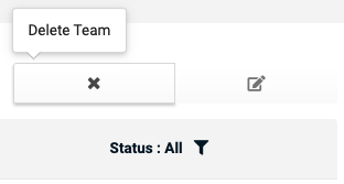 Members Page when team selected delete team icon