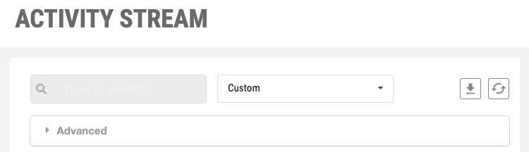 event reports dropdown menu and customize icon